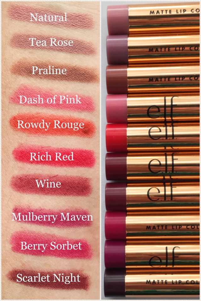 Side by Side | e.l.f. Cosmetics Rose Gold Matte Lip Vault Review
